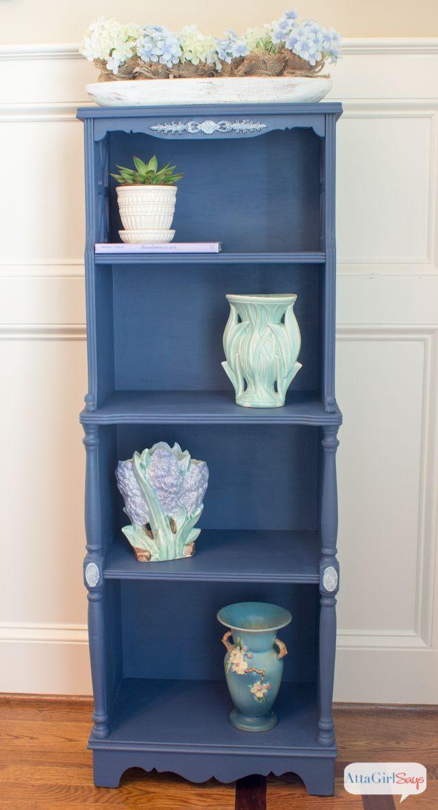 Atta Girl Says | Indigo Blue Painted Bookshelf | http://www.attagirlsays.com