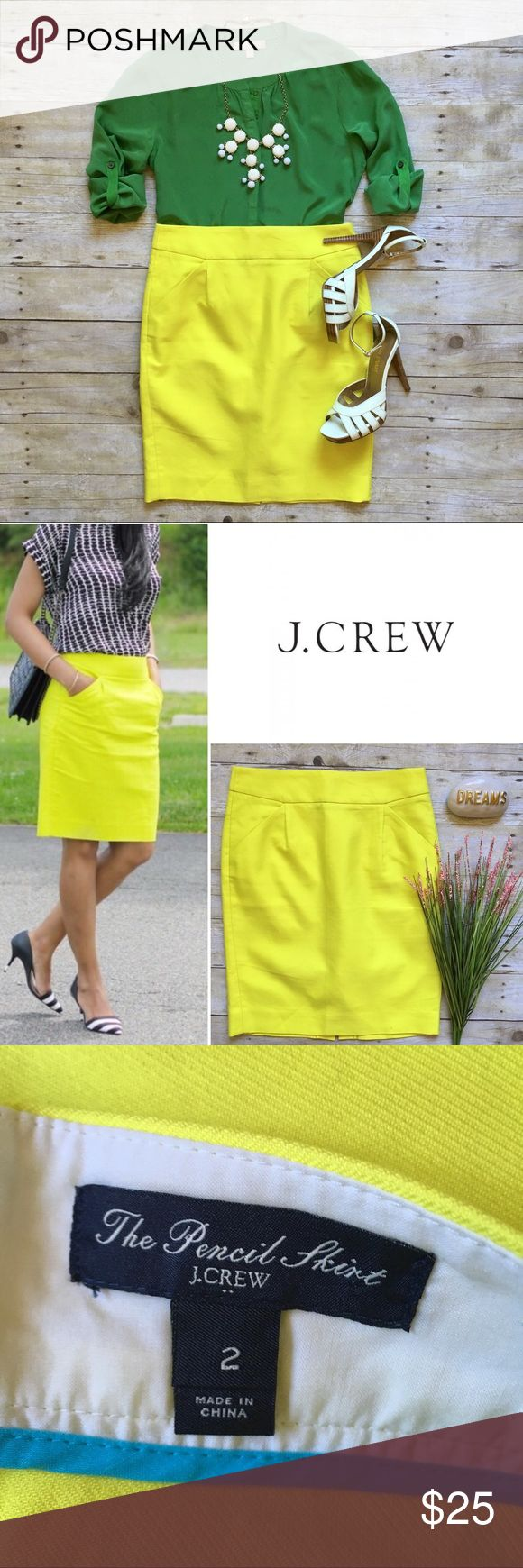 """J. Crew bright yellow pencil skirt Wear this bright skirt with neutrals or pump it under with contrast colors, as shown (both looks available in my closet, bundle and save). J. Crew factory. Back zip. Pockets! In excellent condition. Cotton. 21""""L. 14"""" waist laying flat. Size 2. J. Crew Skirts Pencil"""