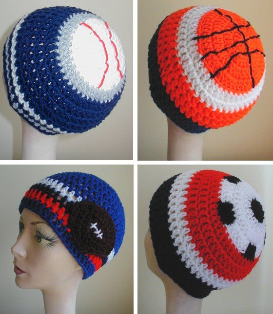Sports hats crochet patterns - there are patterns for men and women on this page