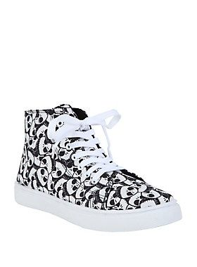 <p>What's this? What's this? There's Jack heads everywhere! Actually, they're just all over these black hi-top sneakers. </p>  <ul> 	<li>Man-made materials</li> 	<li>Imported</li> 	<li>Listed in women's sizes</li> </ul>