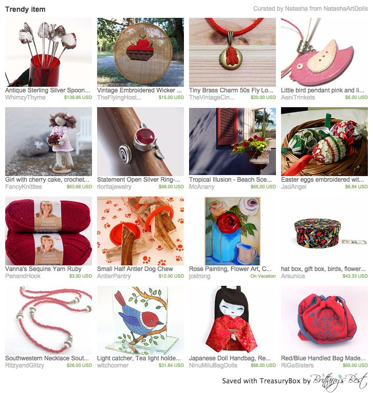Our Red/Blue Handled Bag in this beautiful treasury by Natasha <3 Thank you so much!!!! https://www.etsy.com/treasury/NDc4MjIwOTh8MjcyNDg5MDA4NQ/trendy-item