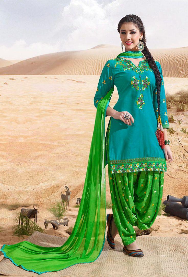 #Sky Blue And #Green Cotton #Patiala #Suit #nikvik  #usa #designer #australia #canada #freeshipping #readytoship #readytomove