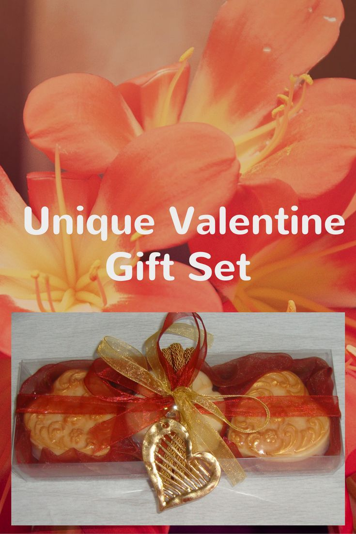 A Unique gift for Valentine Day - Handmade Gift Set in Maroon -Terracotta- Dark Red Colour containing 3  Scented Luxury Soaps and a lovely Handmade Heart Jewelry Necklace in the packaging.