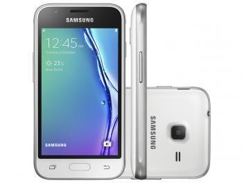"Smartphone Samsung Galaxy J1 Mini 8GB Branco - Dual Chip 3G Câm. 5MP Tela 4"" Proc. Quad Core"