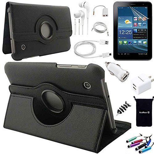 AceNear Accessory Bundle For Samsung Galaxy Tab A 8.0 8-Inch Tablet SM-T350 - New 360 Degress Rotating Stand Leather Folio Case Cover , Headset Dust Plug Capacitive Stylus, Screen Protector, USB Cable, Charger, Earphone, bag, Car Charger Adapter - black - Package include: 1 x leather flip case for Samsung Galaxy Tab A 8.0 8-Inch Tablet SM-T350 1 x Screen Protector for Samsung Galaxy Tab A 8.0 8-Inch Tablet SM-T350 1 x Earphones with mic 1 x Earphone Splitter (make one Earphon