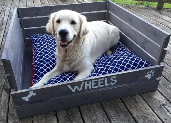 Wood Dog Bed Pallet Pet Bed Flippable Pet by BlackIronIndustrial