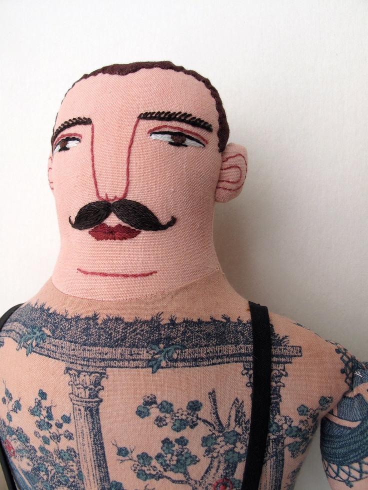 Tattooed man with mustache doll by mck254 on Etsy