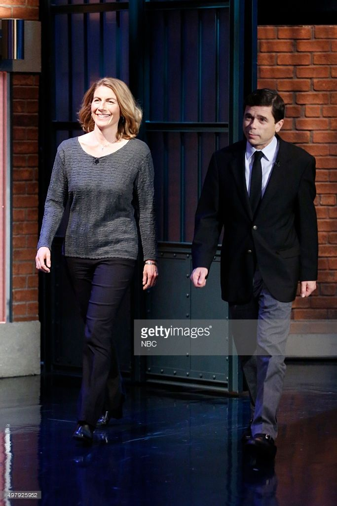 "Boston Globe Reporters Sacha Pfeiffer, Michael Rezendes arrive NBC's ""Late Night with Seth Meyers"" on (November 19, 2015)"
