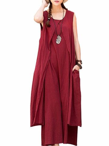 Vintage Sleeveless Pure Color Long Maxi Dress For Women Shopping Online - NewChic Mobile.