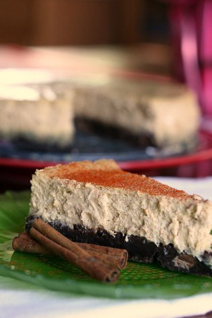 Mexican Brownie Bottom Cheesecake...This spiced chocolate-cinnamon cheesecake is a cross between a brownie-bottom cheesecake and a Mexican chocolate ice cream cake.