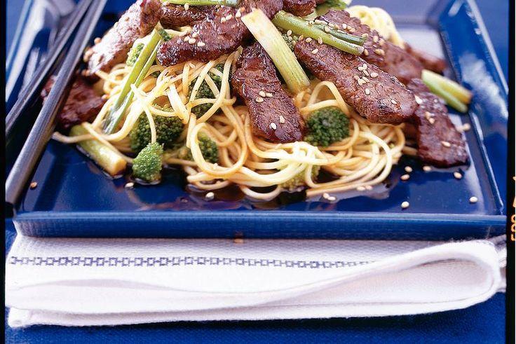 Teriyaki-biefstuk met noedels. - Recept - Allerhande