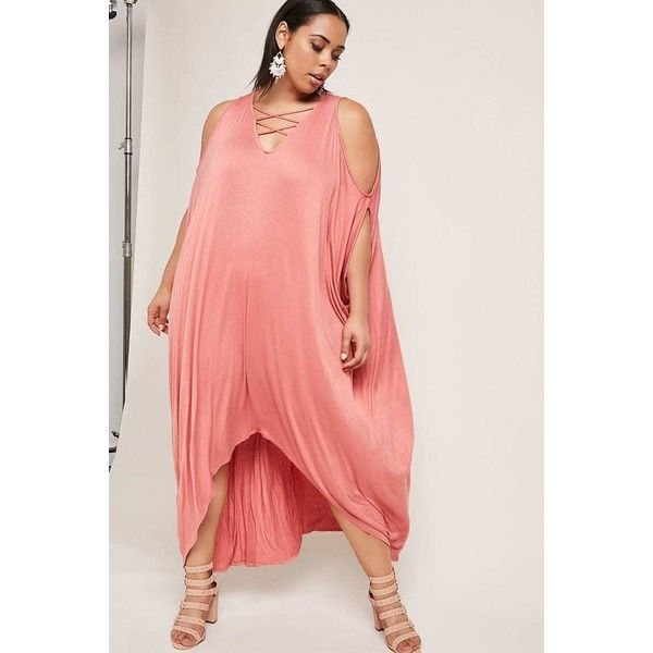 Forever21 Plus Size Batwing Maxi Dress ($38) ❤ liked on Polyvore featuring plus size women's fashion, plus size clothing, plus size dresses, brick, sleeve maxi dress, red dress, red hi low dress, forever 21 dresses and maxi dress