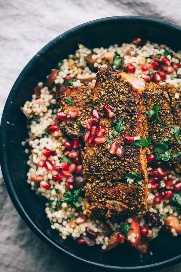 Mole Inspired Rub, Salmon, and Israeli Couscour