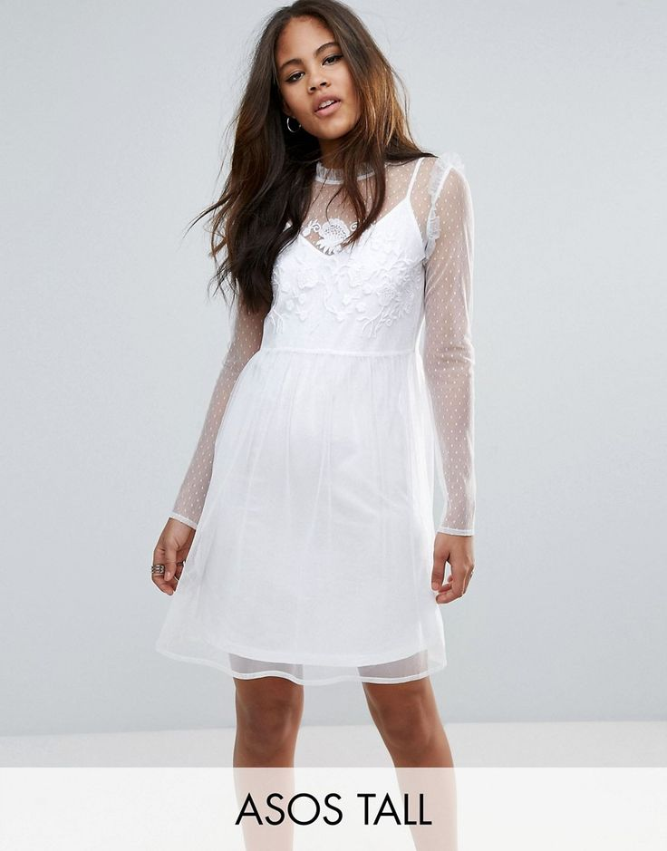 Buy it now. ASOS TALL Dobby Mesh Embroidered Smock Dress - White. Tall dress by ASOS TALL, Dobby mesh overlay, Jersey lining, High neck, Embroidered detail, Zip-back closure, Smock style, Relaxed fit, Machine wash, 100% Polyamide, Our model wears a UK 8/EU 36/US 4 and is 180 cm/5'11� tall, Mini dress length between: 93-95cm. Find fresh wardrobe wins with our ASOS TALL edit. Raise your sunrise-till-sunset game with occasion dresses, cool separates and jeans that go up to a 38� leg length a...