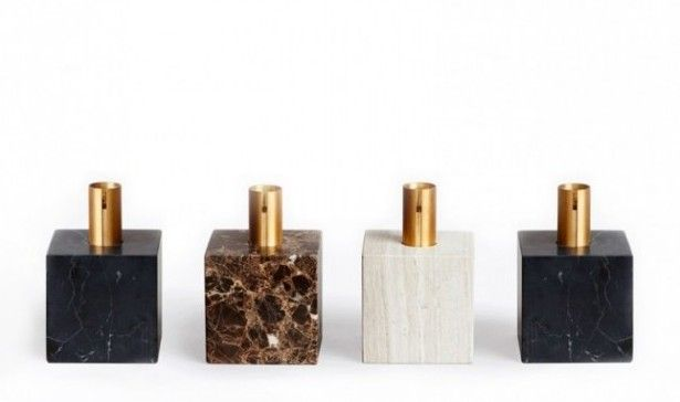 """""""Block Candle Holder Lights"""" made of marble by New Works."""