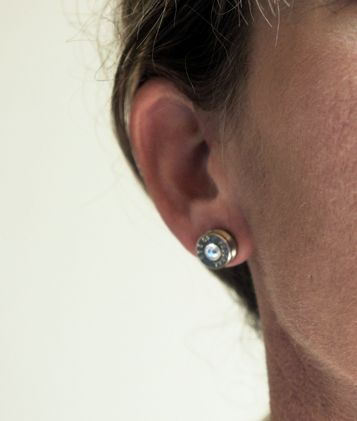 Bullet Stud Earrings Brass and Nickel - The Well Armed Woman