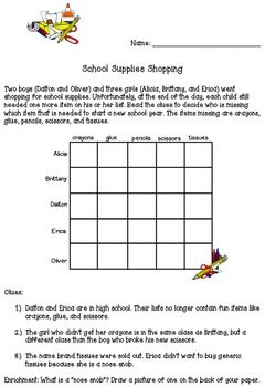 vans shoes coupons printable   Matrix Logic Problem About School Supplies for Gifted or Bright Students Summer Boredom Grade  and Challenges