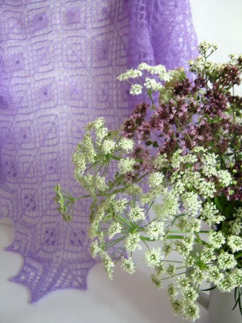 Shawl Wedding in Lilac color. Kid Mohair Lace Hand Knitted