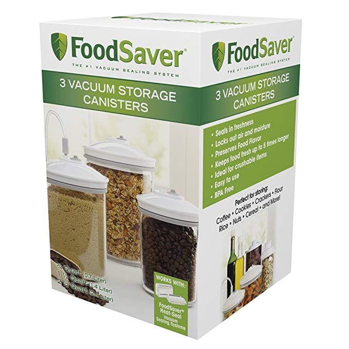 Amazon Com Foodsaver T02 0052 01 Vacuum Storange Canister Set Round 3 Pack 6 5 H 6 5 H 9 4 Dyujma White Fo Food Saver Vacuum Sealing Food Canister Sets