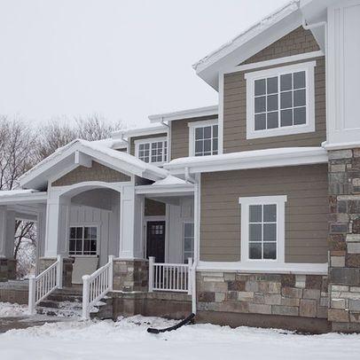 dark brown houses white trim