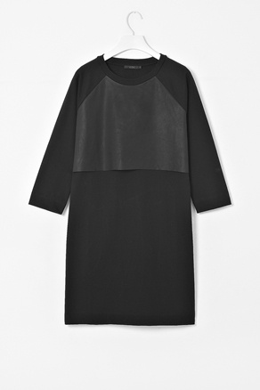 LEATHER PANEL DRESS cos