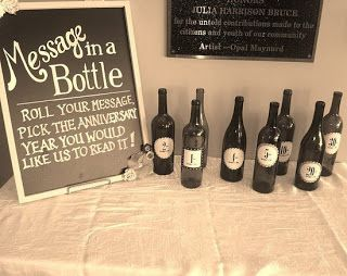 Have guests roll a message/advice into the bottles for us to read on 1st anniversary, 2nd anniversary etc!