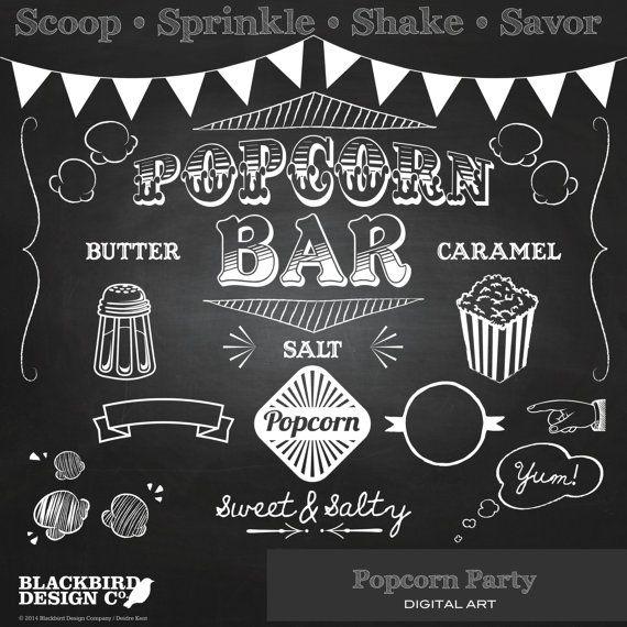 Popcorn Party Chalkboard Clipart  Digital by BlackBirdsDesigns, $5.00