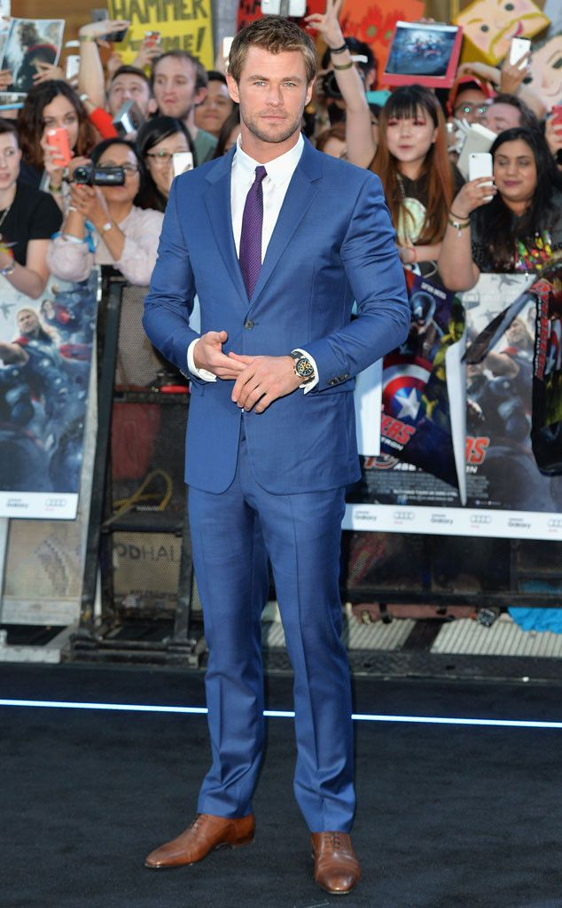 CHRIS HEMSWORTH Hot damn! The Aussie actor suits up for his Avengers: Age Of Ultron premiere in London.