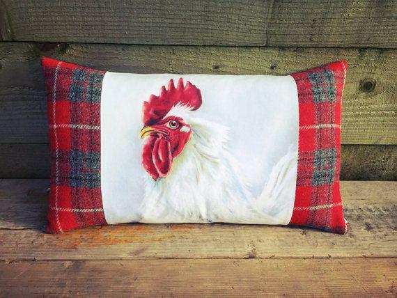 Original Artwork Cushion Rooster Cushion Chicken by LizWhiteside
