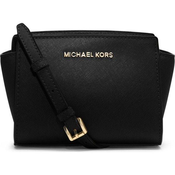 MICHAEL MICHAEL KORS Selma mini cross-body satchel (3.401.645 IDR) ❤ liked on Polyvore featuring bags, handbags, purses, black, michael kors crossbody, michael kors handbags, black leather satchel, leather purse and mini crossbody purse