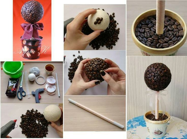 Topiarios con granos de cafe