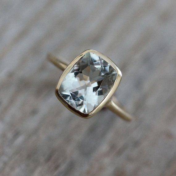 Aquamarine Cushion Ocean Blue Gemstone Ring.