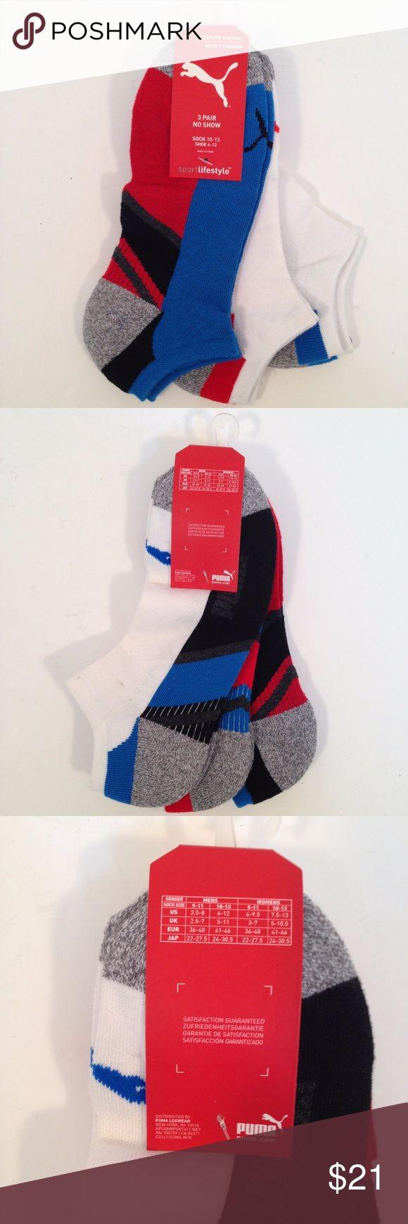 Puma Men's No Show Moisture Control Socks Puma Men's No Show Moisture Control Sport Lifestyle Socks Stocking Stuffer  3 pair Sock size 10-13 Puma Underwear & Socks Athletic Socks