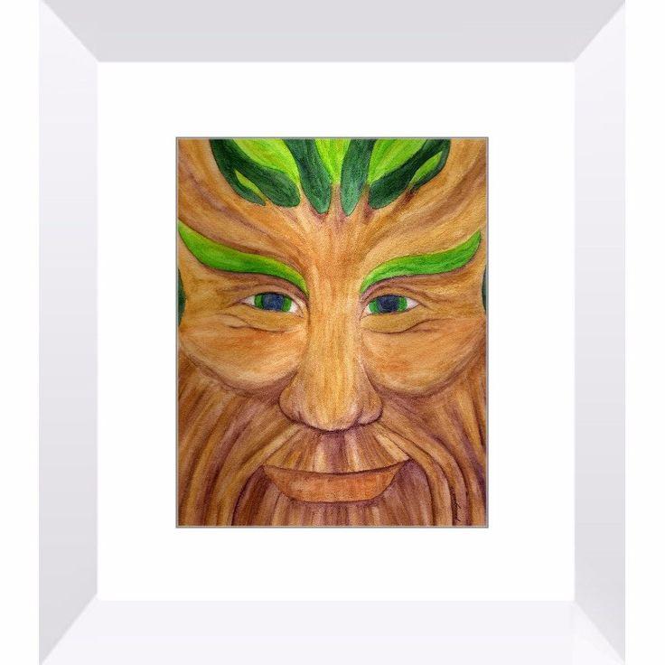 Green Man - Framed Print of Pagan God Watercolor Pencil Fine Art