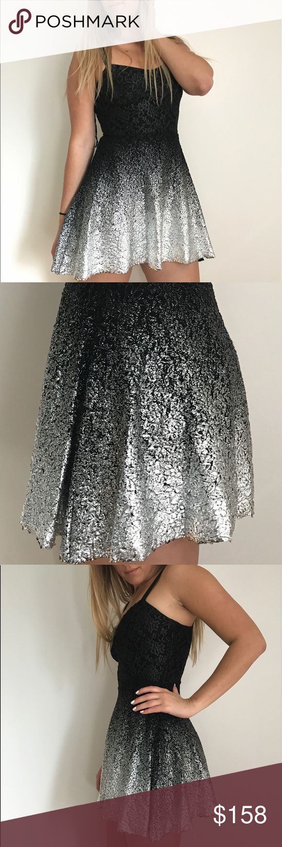 Free People Black Ombré Dress Black to silver ombre dress • Adjustable straps • Metallic silver foil around hem Free People Dresses Mini