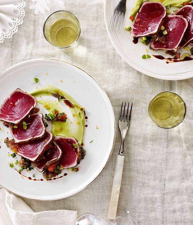 "Australian Gourmet Traveller recipe for tuna carpaccio ""la zingara"" by Melbourne's Mezzo Bar & Grill."