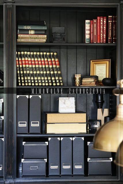 Pracownia, Craft room, Home office, biblioteka, Mimowolne Zauroczenia, czerń i beż.