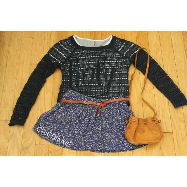 Crochet top- Aeropostale T-Shirt- from boutique in China Skirt- Urban Planet Belt- via boutique in China Bag- via boutique in Thailand