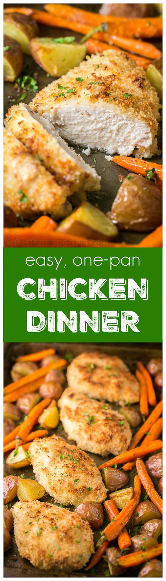 Easy One Sheet Pan Ranch Chicken and Veggies Family Dinner Recipe via Natasha's Kitchen - This one-pan chicken dinner is delicious and family-friendly. It's a one pan meal with just 6 ingredients! Such an easy dinner idea.