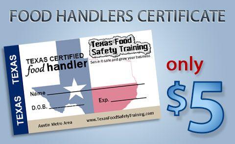 Texas Food handlers certificate