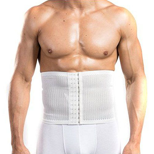 EUBUY Breathable Elastic Mesh Waist Trimmer Belt Body Slimming Shaper Abdomen Girdle Band Lose Weight Belly Wrap for Men White L Size ** You can find out more details at the link of the image.
