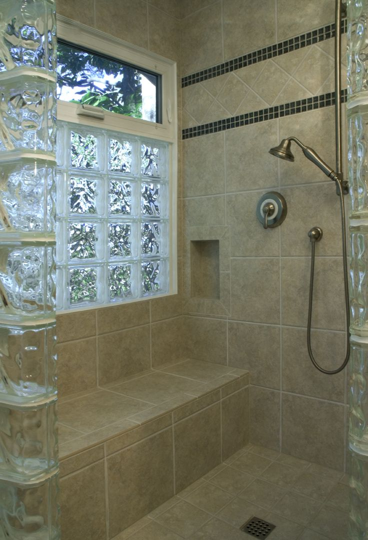 glass block window in walk in shower