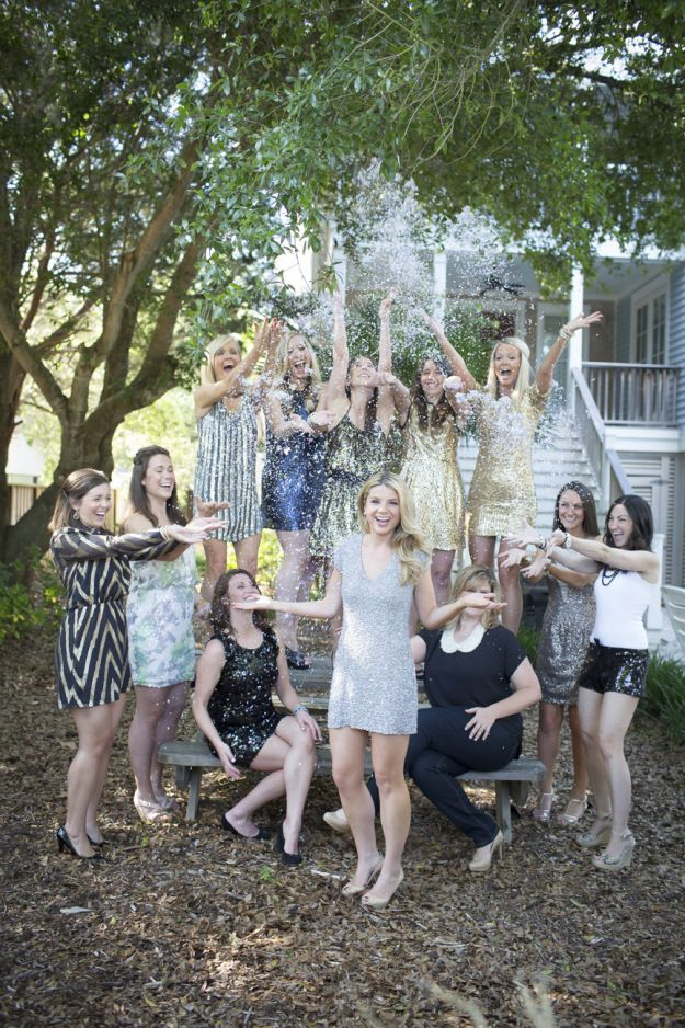 Such a cute idea! A Glitter Bachelorette Shoot in South Carolina | Ultimate Bridesmaid | Paige Winn Photography