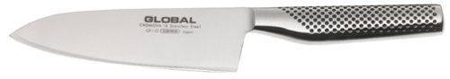 Global GF-32 - 6 1/4 inch, 16cm Heavyweight Chef's Knife by Global. $137.95. Perfectly balanced. Stainless steel seamless construction. Stays sharper longer. Sure-grip handles. Razor sharp. Global knives are crafted of CROMOVA 18 stainless steel for the perfect combination of chromium, molybdenum and vanadium to maximize edge retention and stain resistance. Their light weight seamless construction and razor sharp edges make Global knives a popular cutlery favorite. Mad...