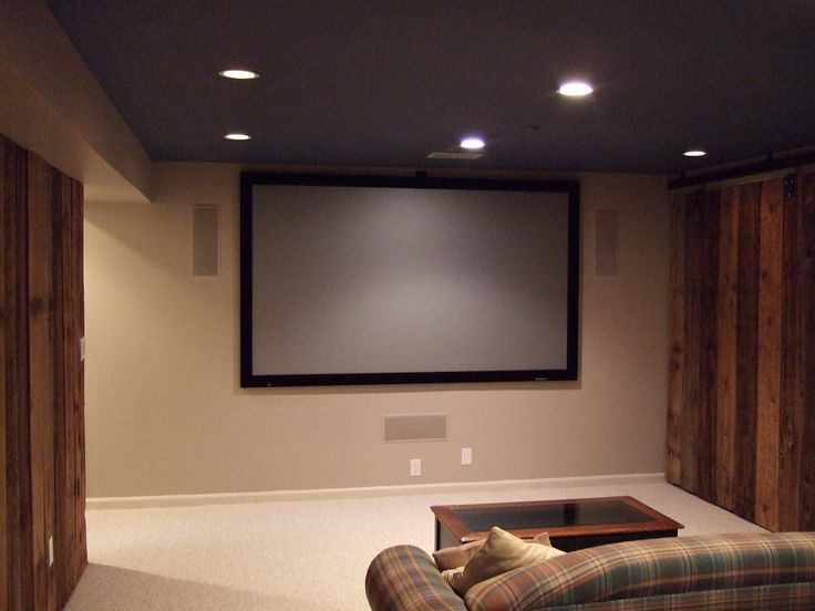 Basement Home Theatre Ideas Property great gray fabric camelback sofas with amazing ceiling lights and