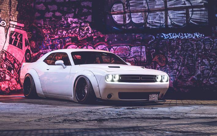 Download imagens 4k, Dodge Challenger SRT, faróis, supercarros, 2018 carros, os carros americanos, branco Challenger, noite, Rodeio