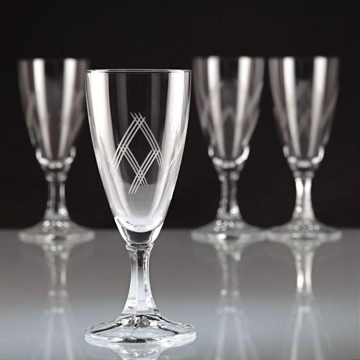 4 Vintage Sektgläser Sektkelche Linien Gravur champagne glass R1U