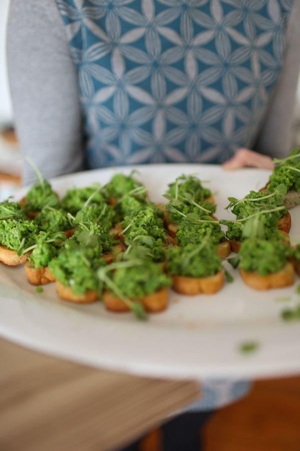 Smashed pea & pecorino crostini | Preserving the Season feast for Kinfolk magazine gathering | recipe & styling by On My Hand | photography by Greta Kenyon