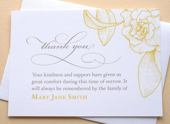 Sympathy Thank You Cards with a Big Yellow by zdesigns0107 on Etsy