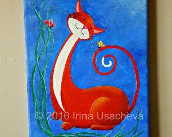Original Painting for Sale : Fantasy Cat by NaturelandsAndCo